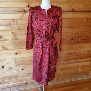 1980s Pellini Red & Black Polyester Dress